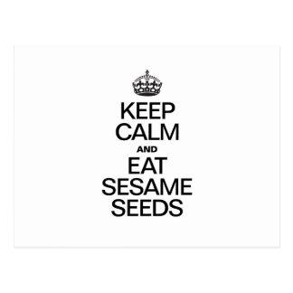 KEEP CALM AND EAT SESAME SEEDS POSTCARD