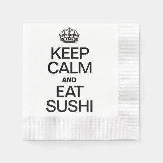 KEEP CALM AND EAT SUSHI COINED COCKTAIL NAPKIN
