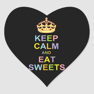 Keep Calm and Eat Sweets Heart Sticker