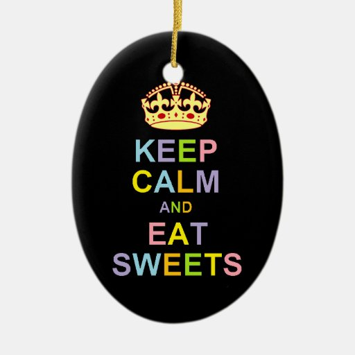Keep Calm and Eat Sweets Double-Sided Oval Ceramic Christmas Ornament