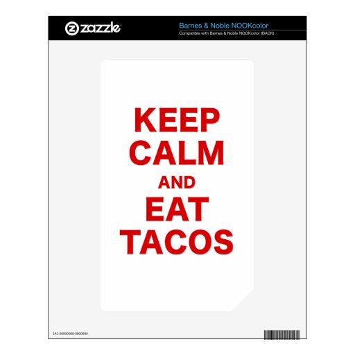 Keep Calm and Eat Tacos Decals For NOOK Color