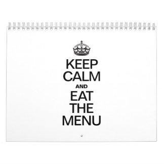 KEEP CALM AND EAT THE MENU CALENDAR