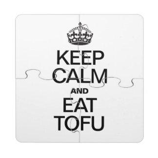 KEEP CALM AND EAT TOFU PUZZLE COASTER