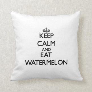 Keep calm and eat Watermelon Throw Pillow