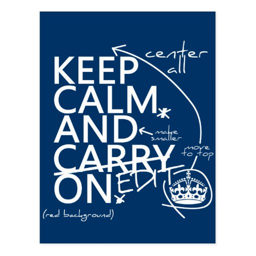 Keep Calm and Edit On (in any color) Postcard