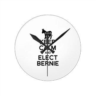 Keep Calm and Elect Bernie Round Clock