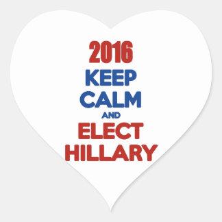Keep Calm And Elect Hillary 2016 Heart Sticker