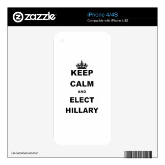 KEEP CALM AND ELECT HILLARY SKIN FOR THE iPhone 4S
