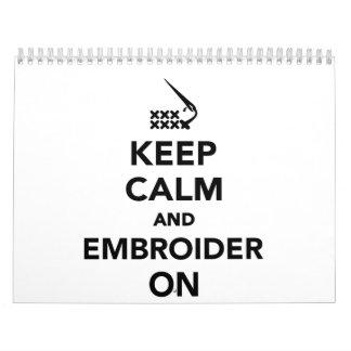 Keep calm and embroider on calendar