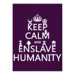 "Keep Calm and Enslave Humanity (robots) 5.5"" X 7.5"" Invitation Card"
