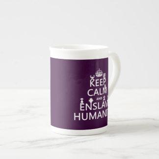 Keep Calm and Enslave Humanity (robots) Bone China Mugs