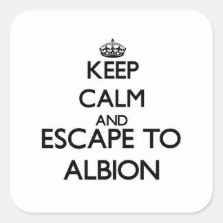 Keep calm and escape to Albion Illinois Square Sticker