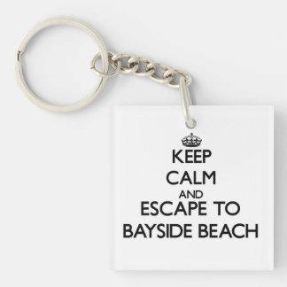 Keep calm and escape to Bayside Beach Maryland Single-Sided Square Acrylic Keychain