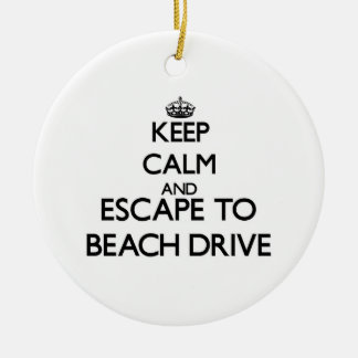 Keep calm and escape to Beach Drive Florida Christmas Ornaments