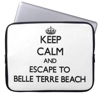 Keep calm and escape to Belle Terre Beach New York Laptop Computer Sleeves