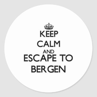 Keep calm and escape to Bergen New Jersey Round Sticker