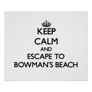 Keep calm and escape to Bowman S Beach Florida Posters