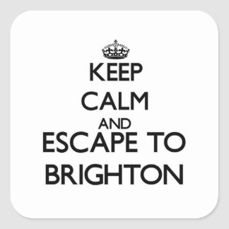 Keep calm and escape to Brighton New Jersey Square Stickers