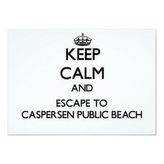 "Keep calm and escape to Caspersen Public Beach Flo 5"" X 7"" Invitation Card"