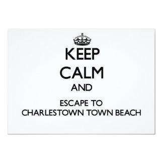 Keep calm and escape to Charlestown Town Beach Rho 5x7 Paper Invitation Card