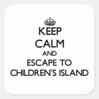 Keep calm and escape to Children'S Island Massachu Square Sticker