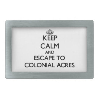 Keep calm and escape to Colonial Acres Massachuset Belt Buckle