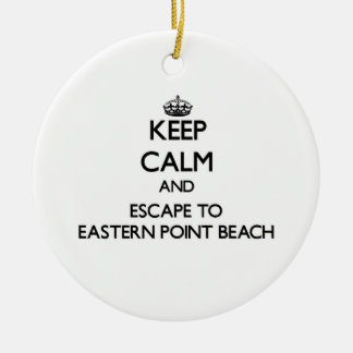 Keep calm and escape to Eastern Point Beach Connec Double-Sided Ceramic Round Christmas Ornament
