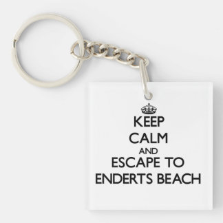 Keep calm and escape to Enderts Beach California Single-Sided Square Acrylic Keychain