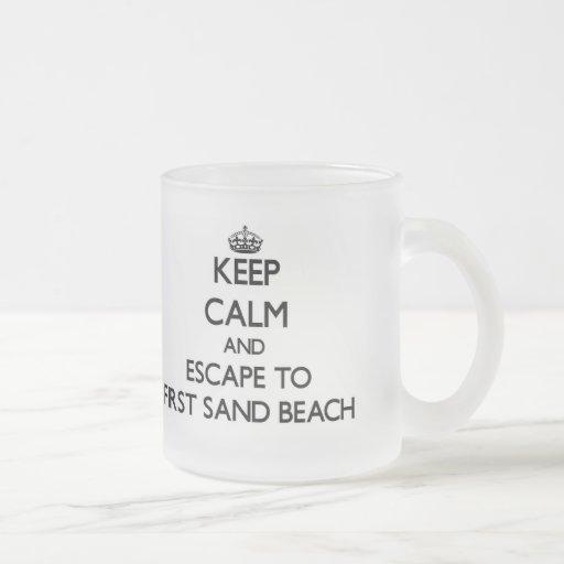 Keep calm and escape to First Sand Beach Michigan Mugs