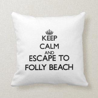 Keep calm and escape to Folly Beach South Carolina Throw Pillows