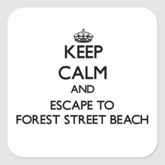 Keep calm and escape to Forest Street Beach Massac Square Sticker