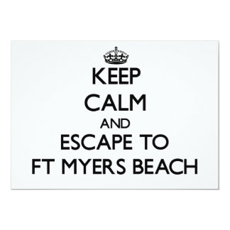 Keep calm and escape to Ft Myers Beach Florida 5x7 Paper Invitation Card