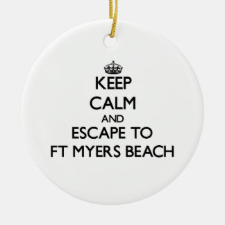 Keep calm and escape to Ft Myers Beach Florida Christmas Tree Ornament