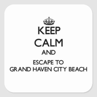 Keep calm and escape to Grand Haven City Beach Mic Square Stickers