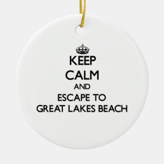 Keep calm and escape to Great Lakes Beach Michigan Double-Sided Ceramic Round Christmas Ornament