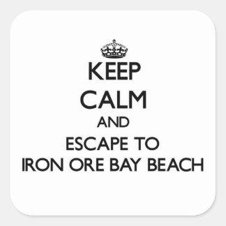 Keep calm and escape to Iron Ore Bay Beach Michiga Square Sticker