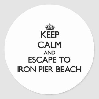 Keep calm and escape to Iron Pier Beach New York Round Stickers