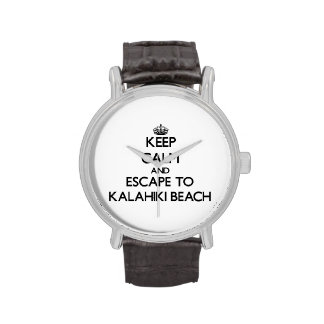 Keep calm and escape to Kalahiki Beach Hawaii Wrist Watches