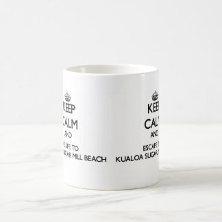 Keep calm and escape to Kualoa Sugar Mill Beach Ha Classic White Coffee Mug