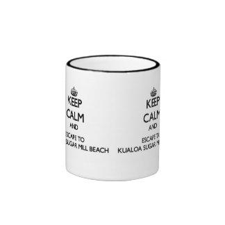 Keep calm and escape to Kualoa Sugar Mill Beach Ha Ringer Coffee Mug
