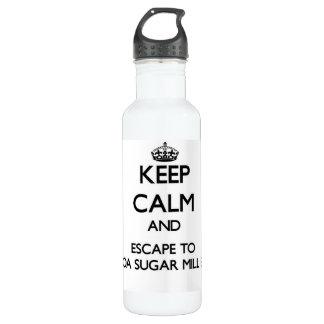 Keep calm and escape to Kualoa Sugar Mill Beach Ha 24oz Water Bottle