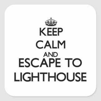 Keep calm and escape to Lighthouse Massachusetts Square Sticker