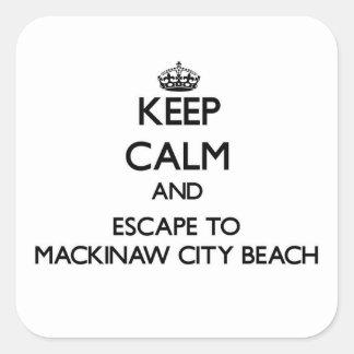Keep calm and escape to Mackinaw City Beach Michig Sticker