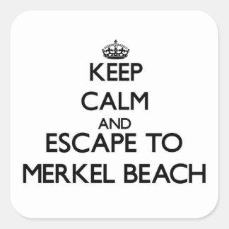 Keep calm and escape to Merkel Beach Massachusetts Square Sticker