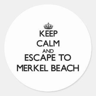 Keep calm and escape to Merkel Beach Massachusetts Classic Round Sticker