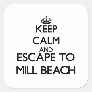 Keep calm and escape to Mill Beach Oregon Square Sticker