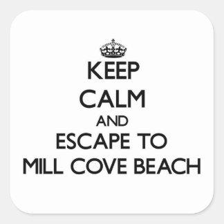 Keep calm and escape to Mill Cove Beach Rhode Isla Square Sticker