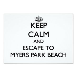 Keep calm and escape to Myers Park Beach Wisconsin 5x7 Paper Invitation Card