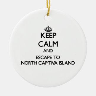 Keep calm and escape to North Captiva Island Flori Ceramic Ornament