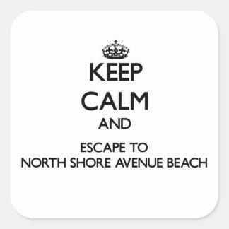 Keep calm and escape to North Shore Avenue Beach I Square Sticker